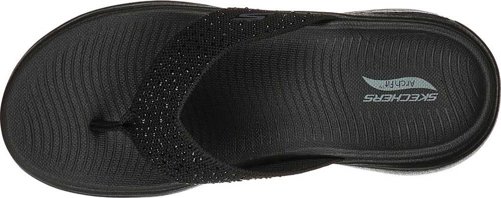 Women's Skechers GOwalk Arch Fit Dazzle Flip Flop, Black/Black, large, image 4