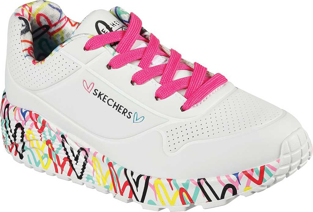 Girls' Skechers JGoldcrown Uno Lite Lovely Luv Sneaker, White/Multi, large, image 1