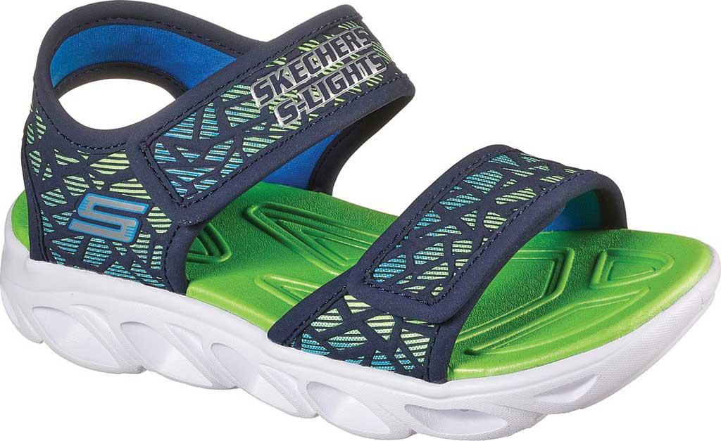 Boys' Skechers S Lights HypnoSplash Sun Sonic Active Sandal, Navy/Lime, large, image 1
