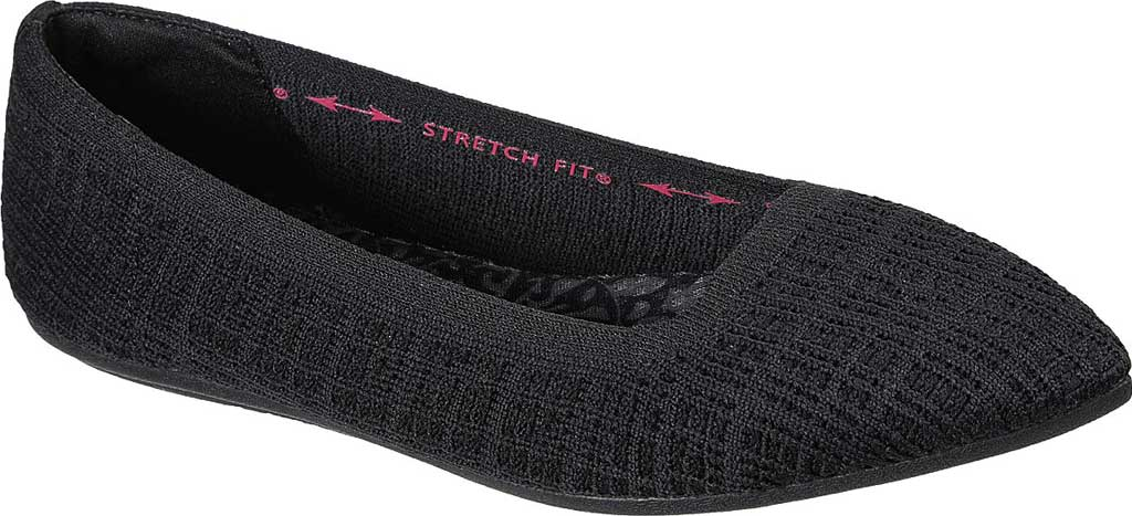 Women's Skechers Cleo Point Vegan Ballet Flat, Black, large, image 1
