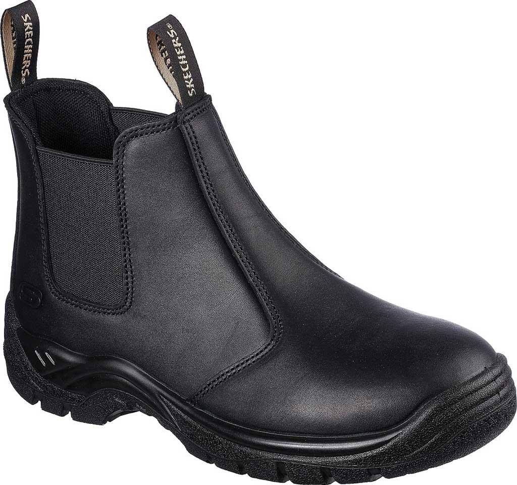Men's Skechers Work Tapter Gorle Steel Toe Chelsea Boot, Black, large, image 1