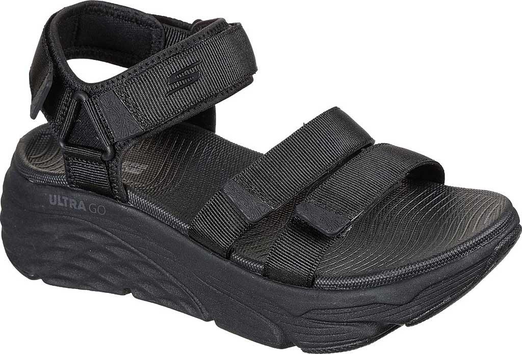 Women's Skechers Max Cushioning Lured Platform Slingback Sandal, Black/Black, large, image 1