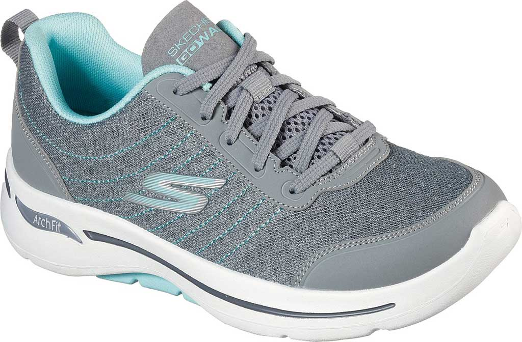 Women's Skechers GOwalk Arch Fit True Vision Vegan Sneaker, Gray/Light Blue, large, image 1