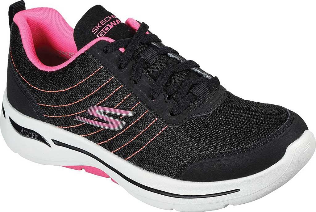 Women's Skechers GOwalk Arch Fit True Vision Vegan Sneaker, Black/Pink, large, image 1