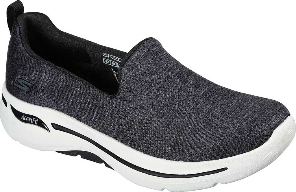 Women's Skechers GOwalk Arch Fit Unlimited Time Vegan Sneaker, Black/White, large, image 1