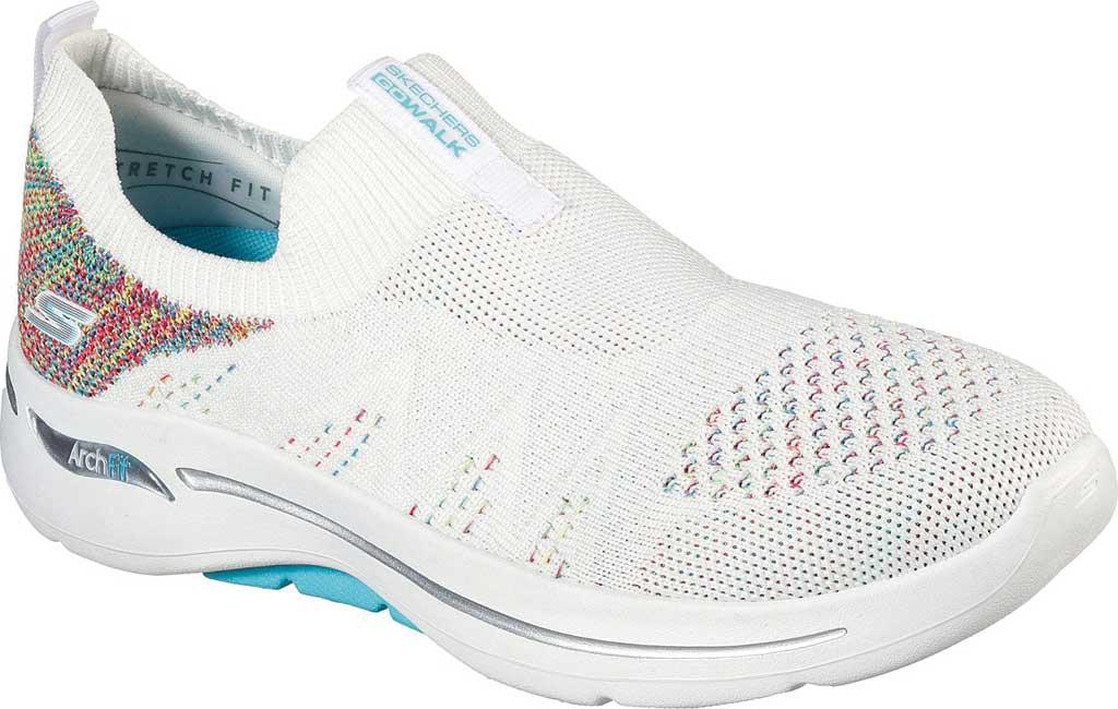 Women's Skechers GOwalk Arch Fit Fun Times Vegan Slip On Sneaker, White/Multi, large, image 1