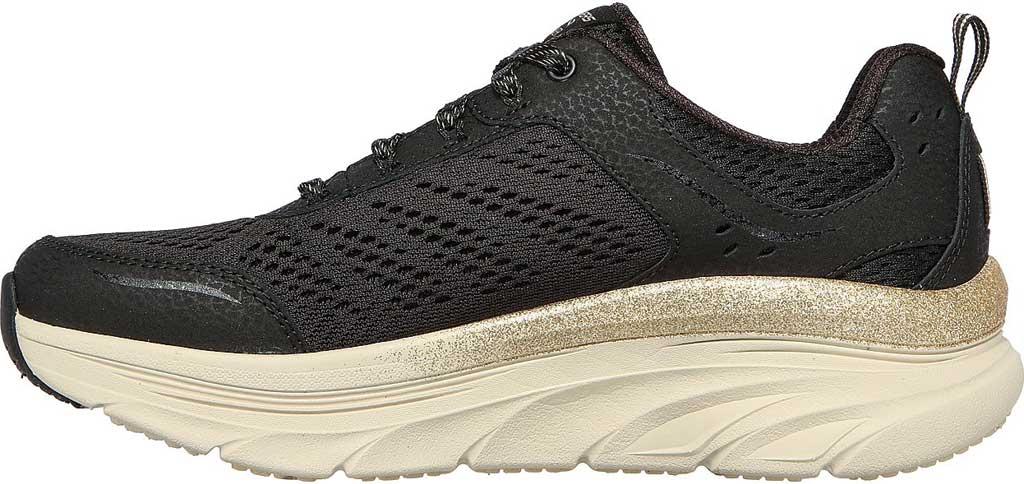 Women's Skechers Relaxed Fit D'Lux Walker Glorious Motion Sneaker, Black/Gold, large, image 3