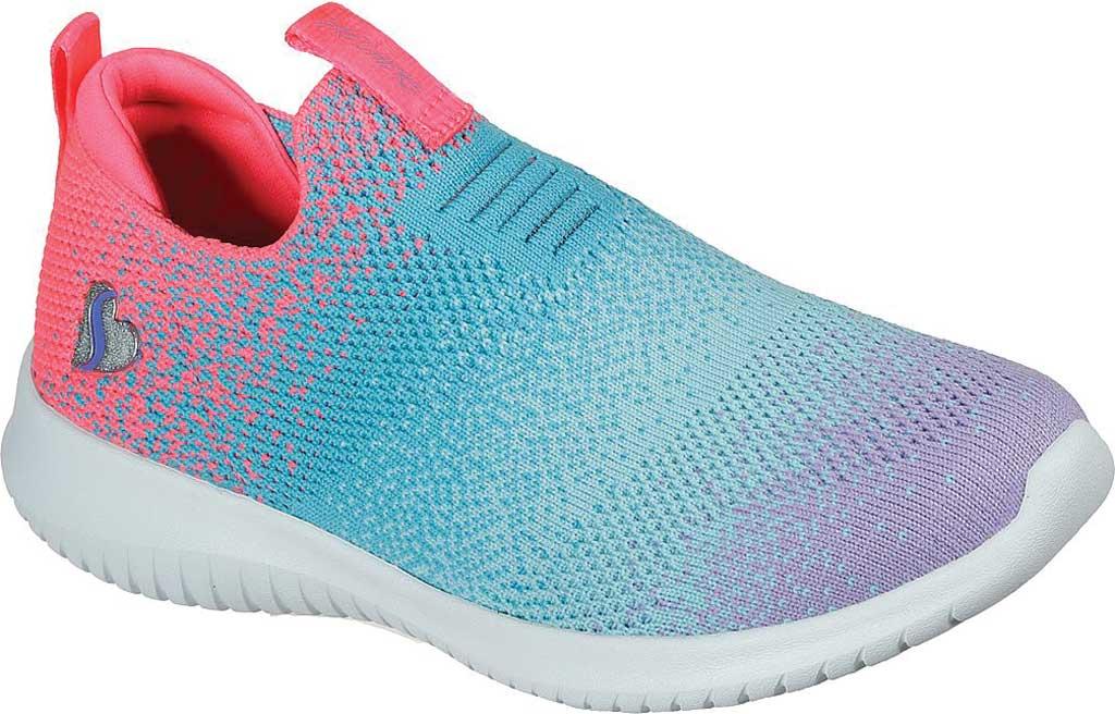 Girls' Skechers Ultra Flex Color Perfect Slip On Sneaker, Coral/Multi, large, image 1