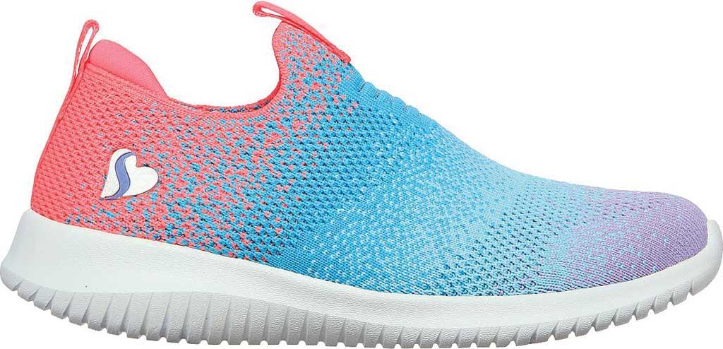 Girls' Skechers Ultra Flex Color Perfect Slip On Sneaker, Coral/Multi, large, image 2