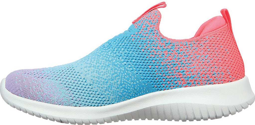 Girls' Skechers Ultra Flex Color Perfect Slip On Sneaker, Coral/Multi, large, image 3