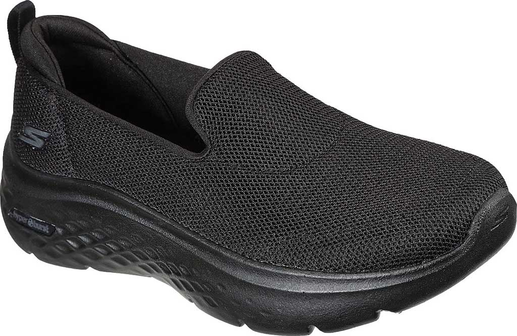 Women's Skechers GOwalk Hyper Burst Extreme Outlook Vegan Sneaker, Black/Black, large, image 1