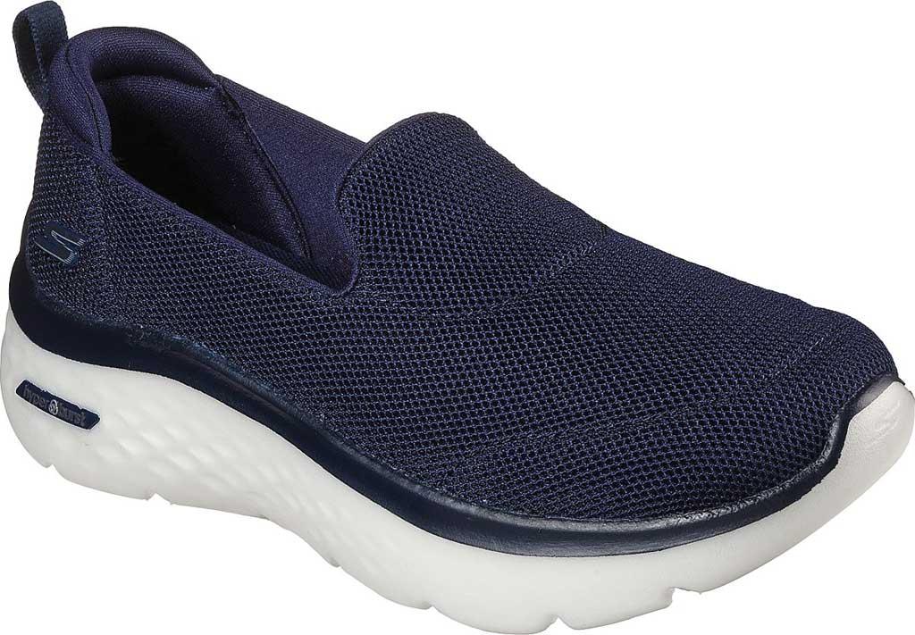 Women's Skechers GOwalk Hyper Burst Extreme Outlook Vegan Sneaker, Navy/White, large, image 1