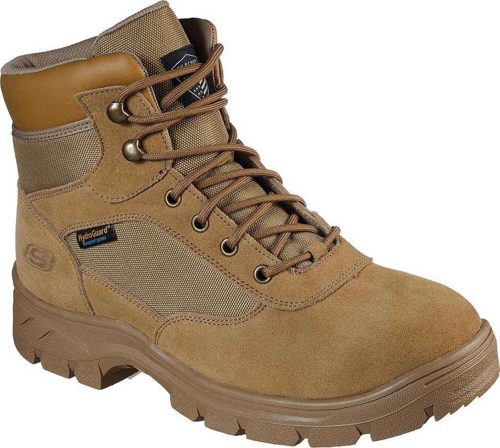 Men's Skechers Work Relaxed Fit Wascana Millit Waterproof Boot, Camel, large, image 1