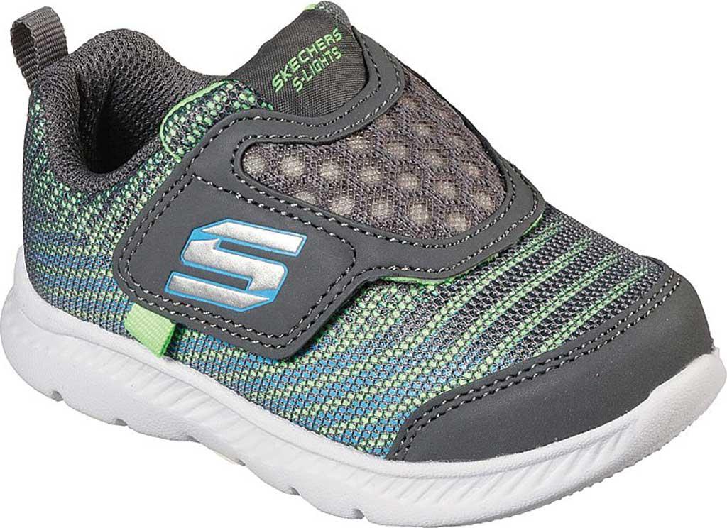 Infant Boys' Skechers Comfy Flex 2.0 Mazlo Light Up Sneaker, Charcoal/Lime, large, image 1