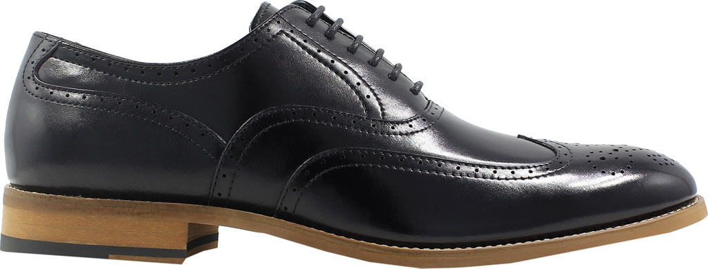 Men's Stacy Adams Dunbar Wingtip Oxford, Black Leather, large, image 2