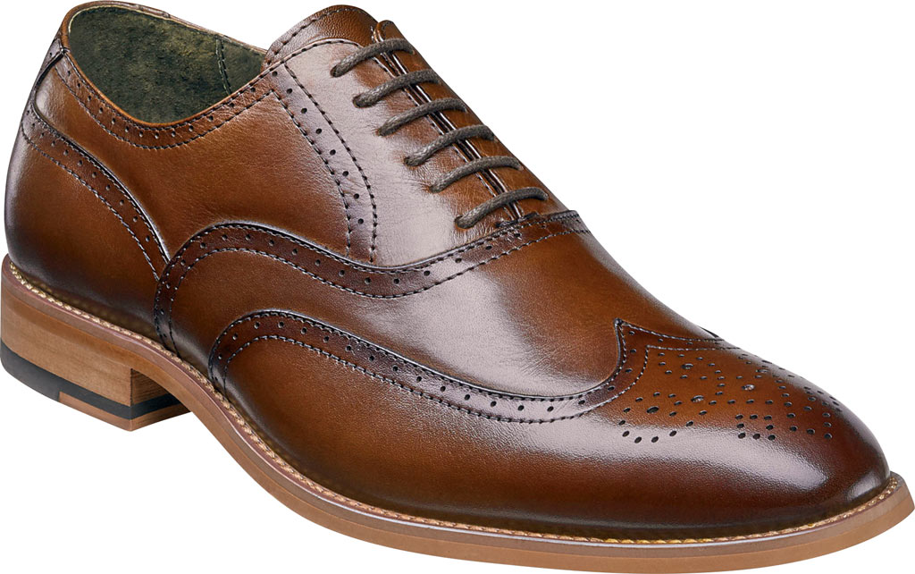 Men's Stacy Adams Dunbar Wingtip Oxford, Cognac Leather, large, image 1