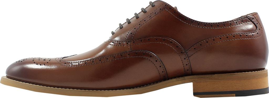 Men's Stacy Adams Dunbar Wingtip Oxford, Cognac Leather, large, image 3