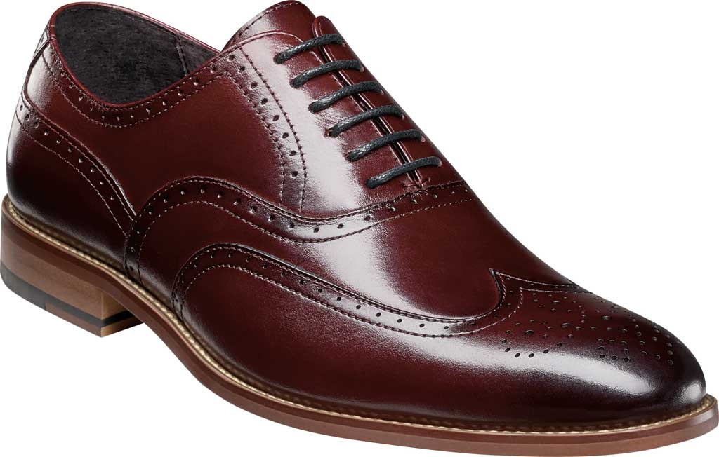 Men's Stacy Adams Dunbar Wingtip Oxford, Burgundy Smooth Leather, large, image 1