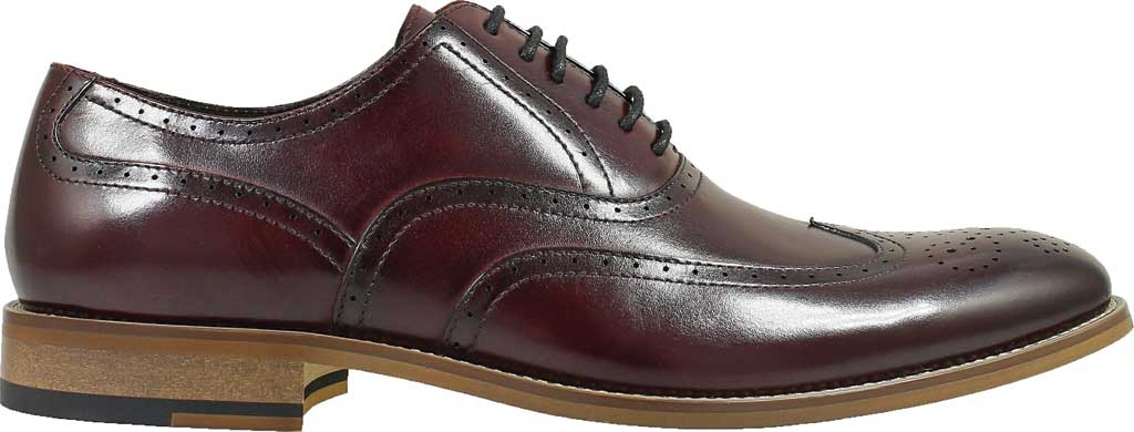 Men's Stacy Adams Dunbar Wingtip Oxford, Burgundy Smooth Leather, large, image 2