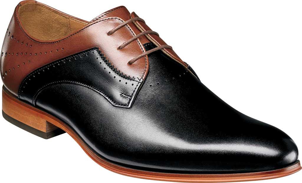 Men's Stacy Adams Savion Plain Toe Oxford 25177, Black/Cognac Smooth Leather, large, image 1