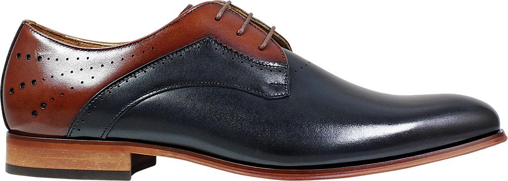 Men's Stacy Adams Savion Plain Toe Oxford 25177, Black/Cognac Smooth Leather, large, image 2