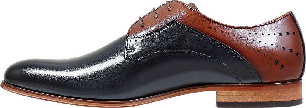 Men's Stacy Adams Savion Plain Toe Oxford 25177, Black/Cognac Smooth Leather, large, image 3