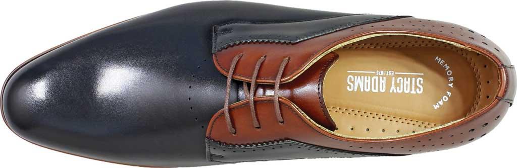 Men's Stacy Adams Savion Plain Toe Oxford 25177, Black/Cognac Smooth Leather, large, image 6