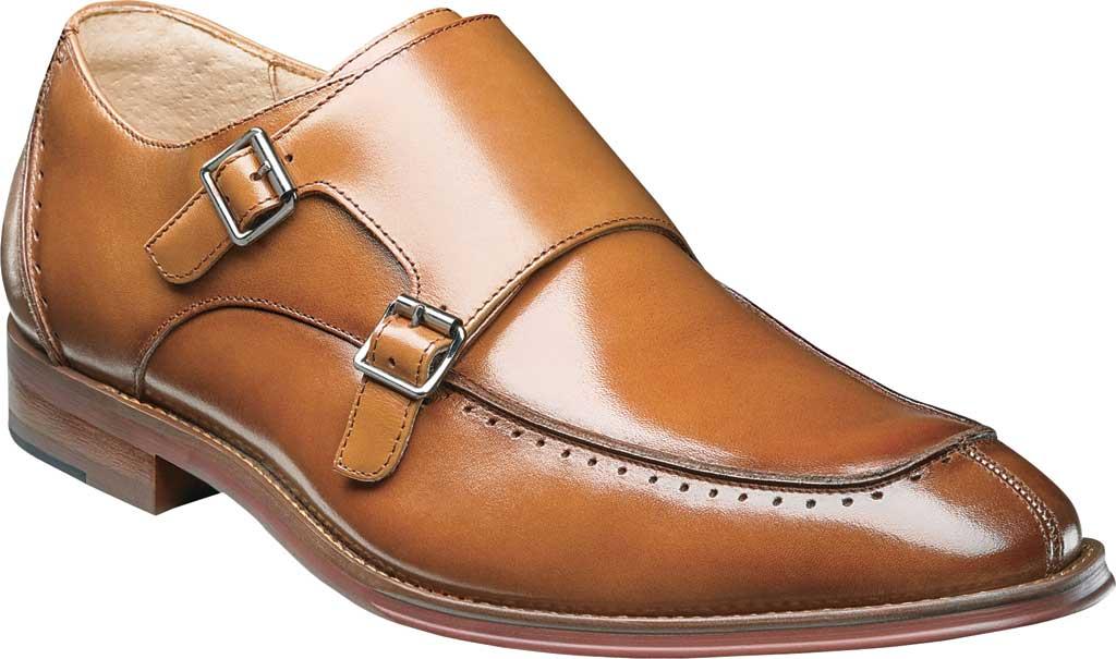 Men's Stacy Adams Baldwin Moc Toe Monk Strap 25188, Tan Smooth Leather, large, image 1