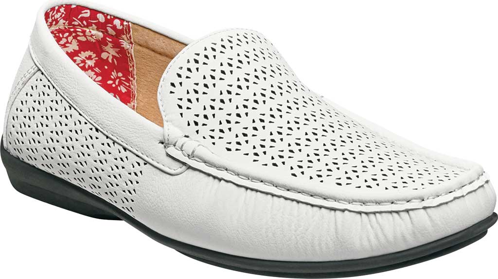 Men's Stacy Adams Cicero Perfed Moc Toe Loafer 25172, White Synthetic, large, image 1