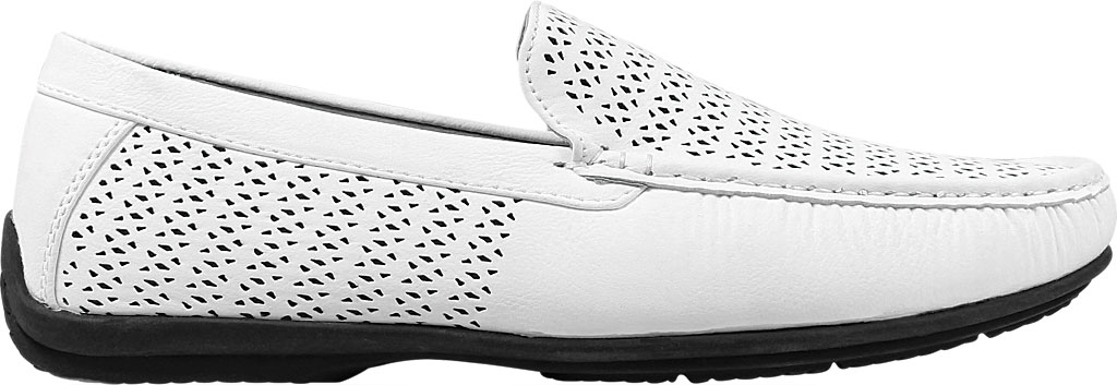 Men's Stacy Adams Cicero Perfed Moc Toe Loafer 25172, White Synthetic, large, image 2