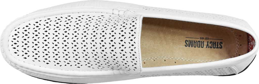 Men's Stacy Adams Cicero Perfed Moc Toe Loafer 25172, White Synthetic, large, image 6