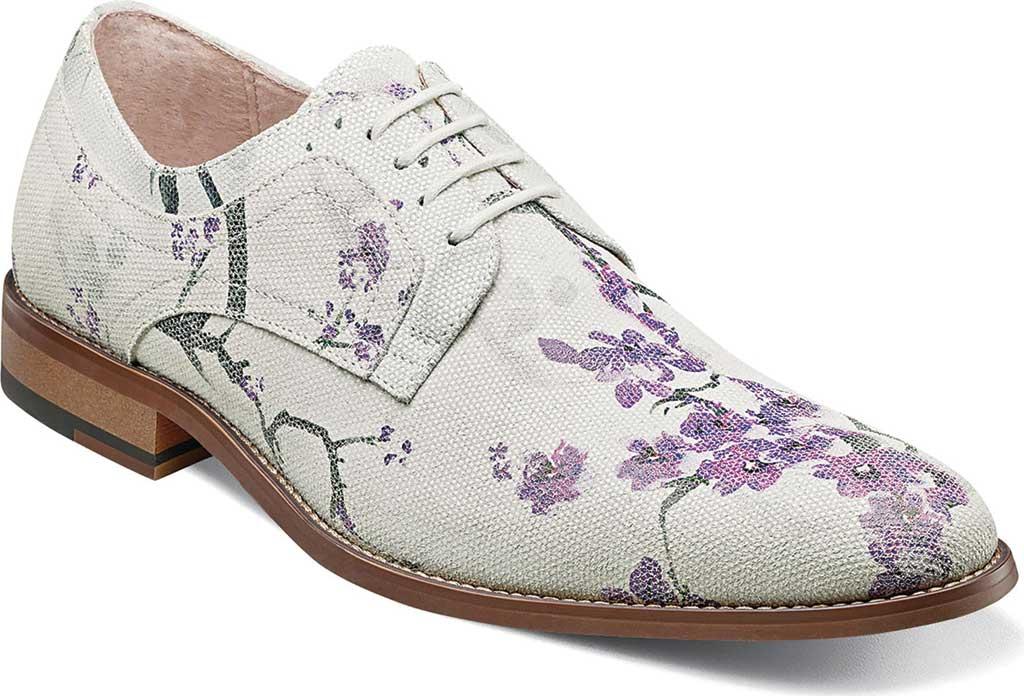 Men's Stacy Adams Dandy Plain Toe Oxford 25164, Lavender Multi Printed Suede, large, image 1