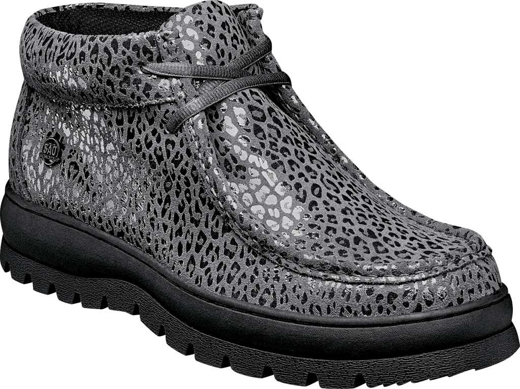 Men's Stacy Adams Dublin II Moc Toe Boot, Gray Multi Printed Suede, large, image 1