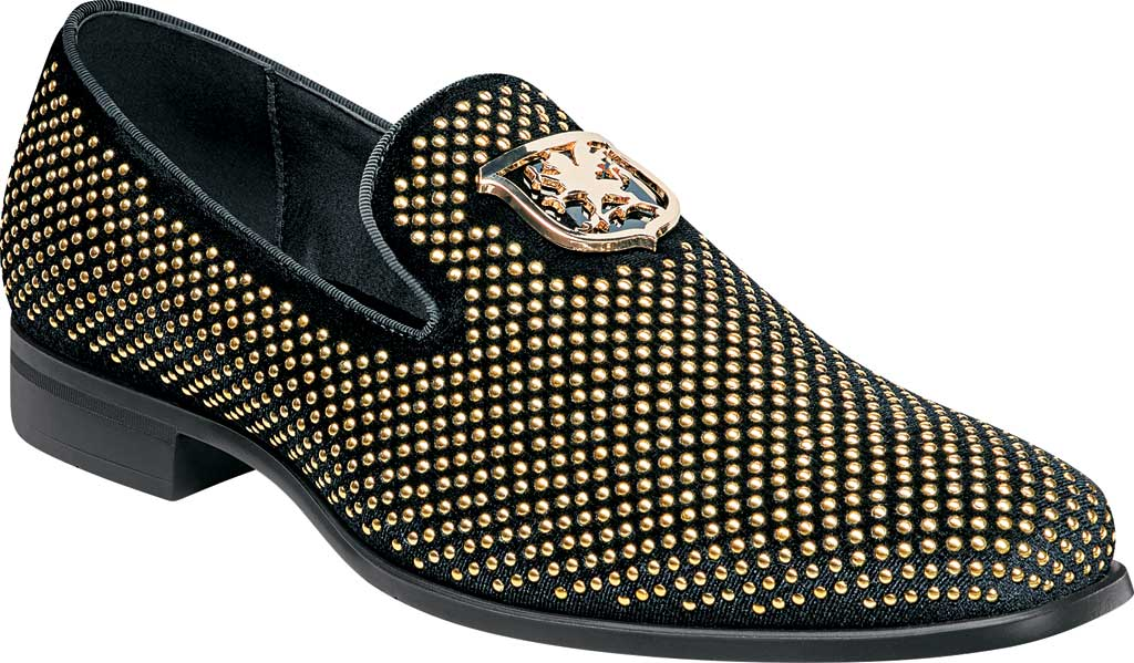 Men's Stacy Adams Swagger Studded Loafer, Black/Gold Studded Fabric, large, image 1