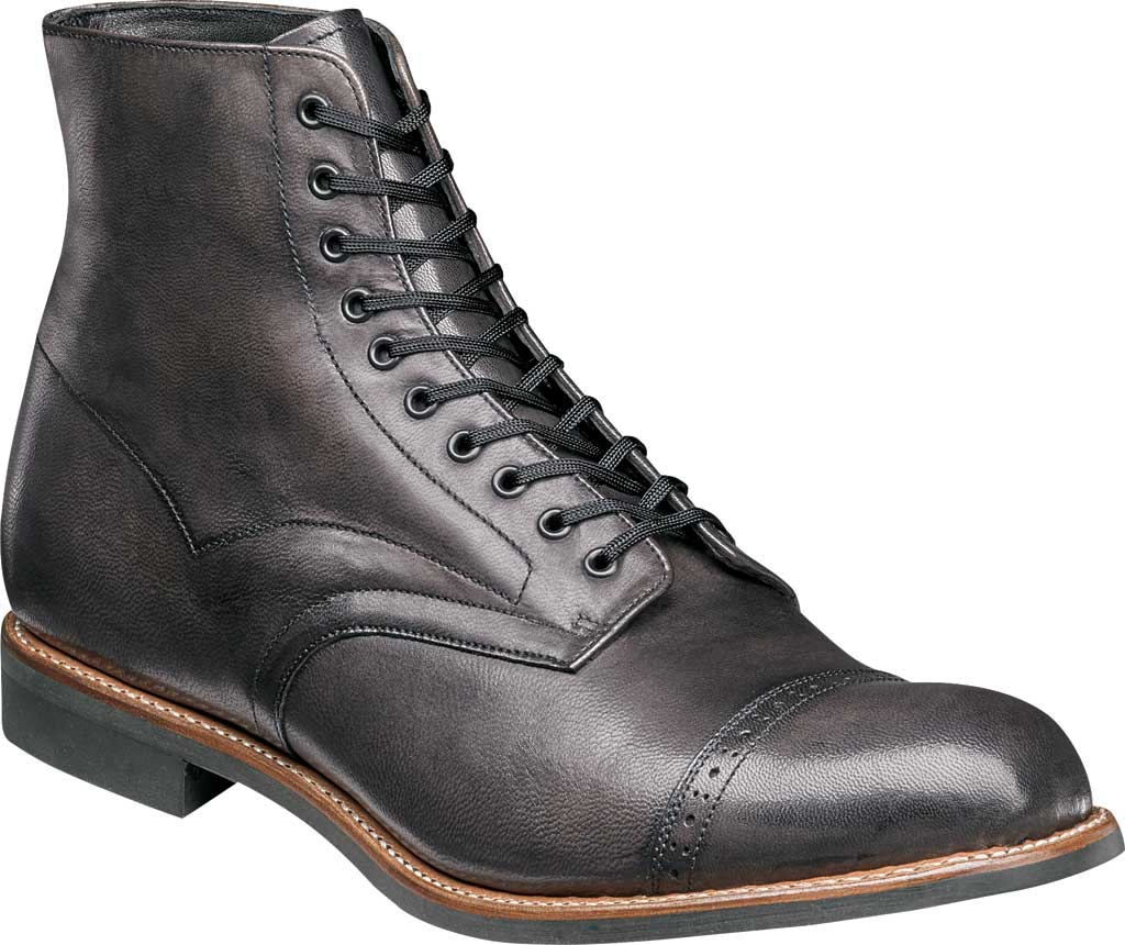 Men's Stacy Adams Madison Cap Toe Boot, Grey Kidskin Leather, large, image 1