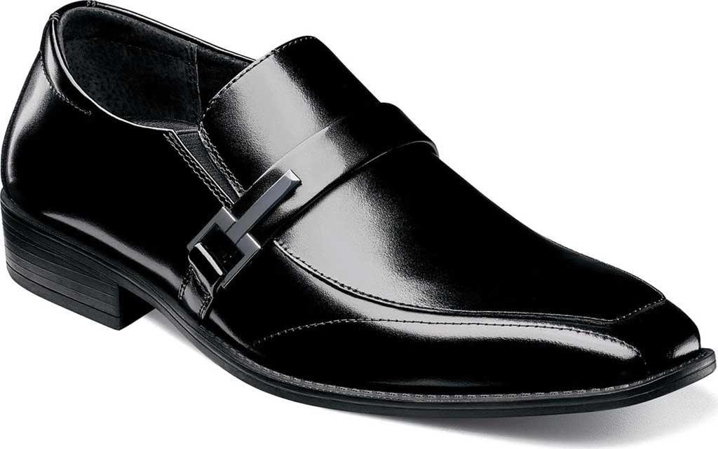 Men's Stacy Adams Abram Moc Toe Bit Slip-On, Black Leather, large, image 1
