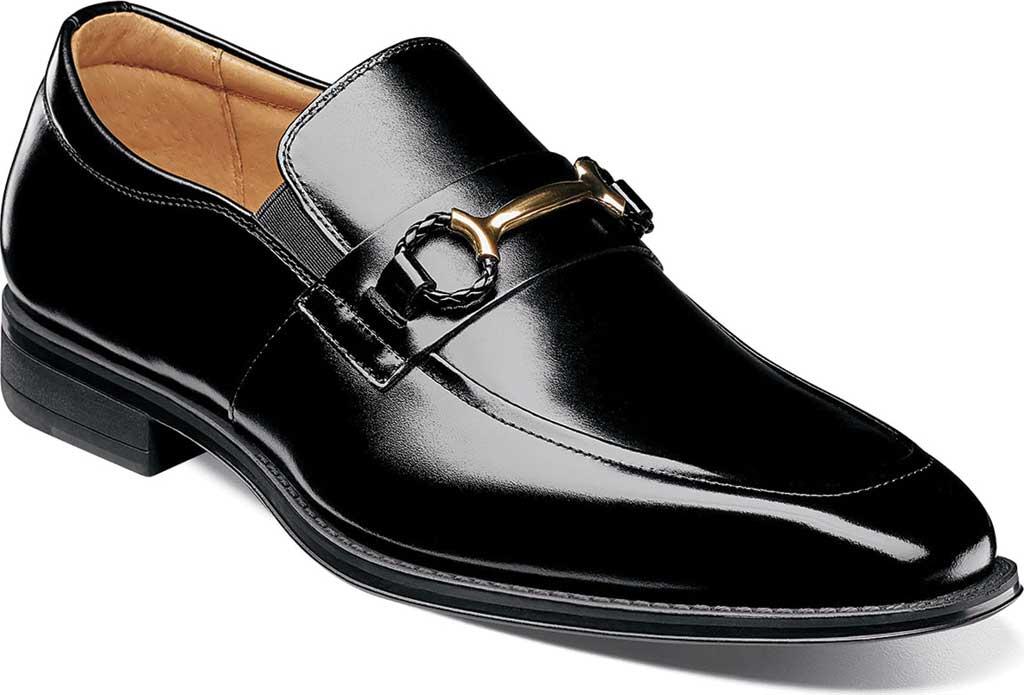 Men's Stacy Adams Pierce Moc Toe Bit Slip-On, Black Smooth Leather, large, image 1