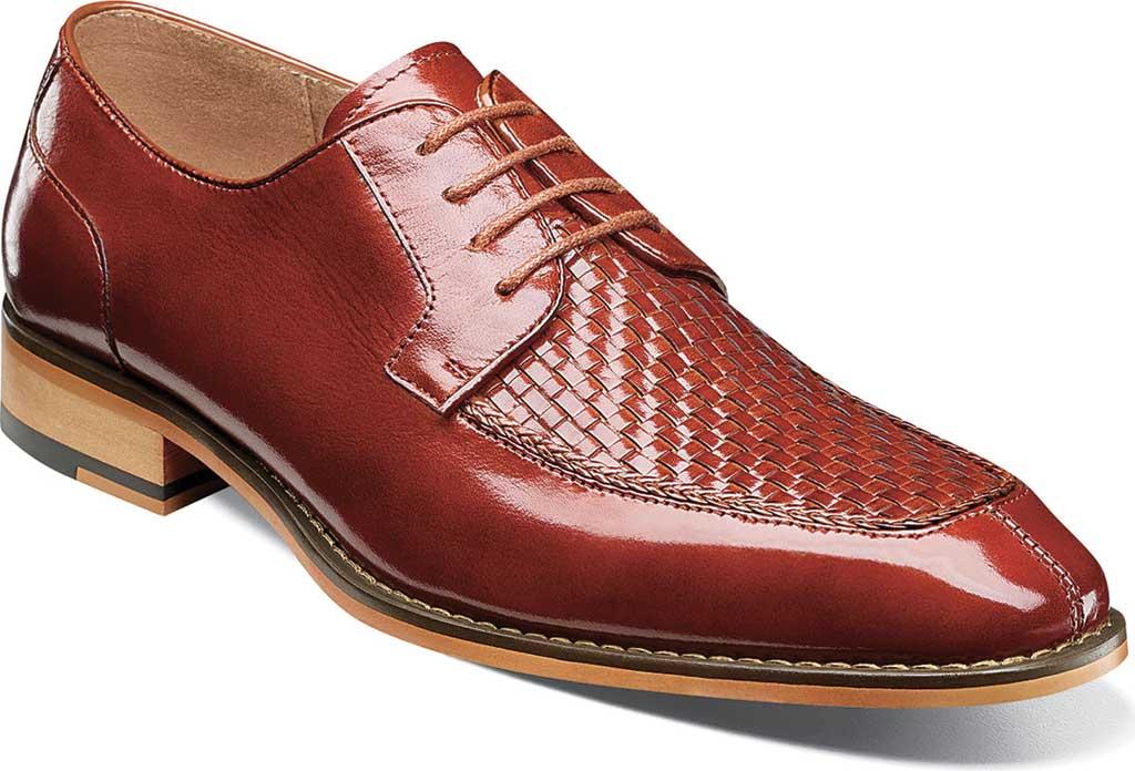 Men's Stacy Adams Winthrop Moc Toe Woven Oxford, Cognac Buffalo Leather, large, image 1