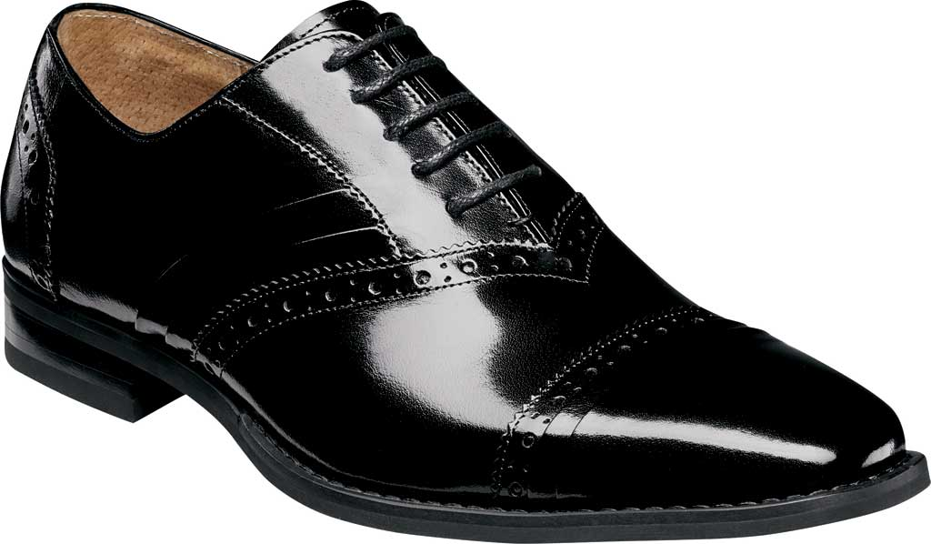 Men's Stacy Adams Talford Cap Toe Oxford, Black Buffalo Leather, large, image 1