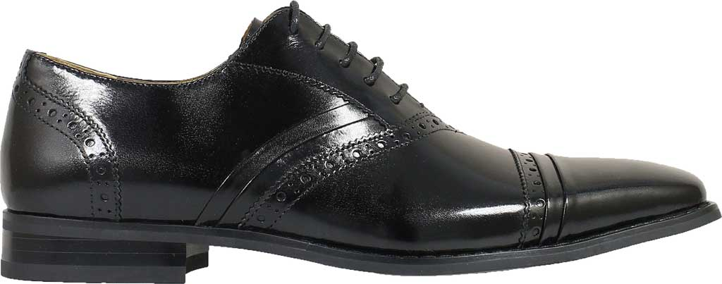 Men's Stacy Adams Talford Cap Toe Oxford, Black Buffalo Leather, large, image 2