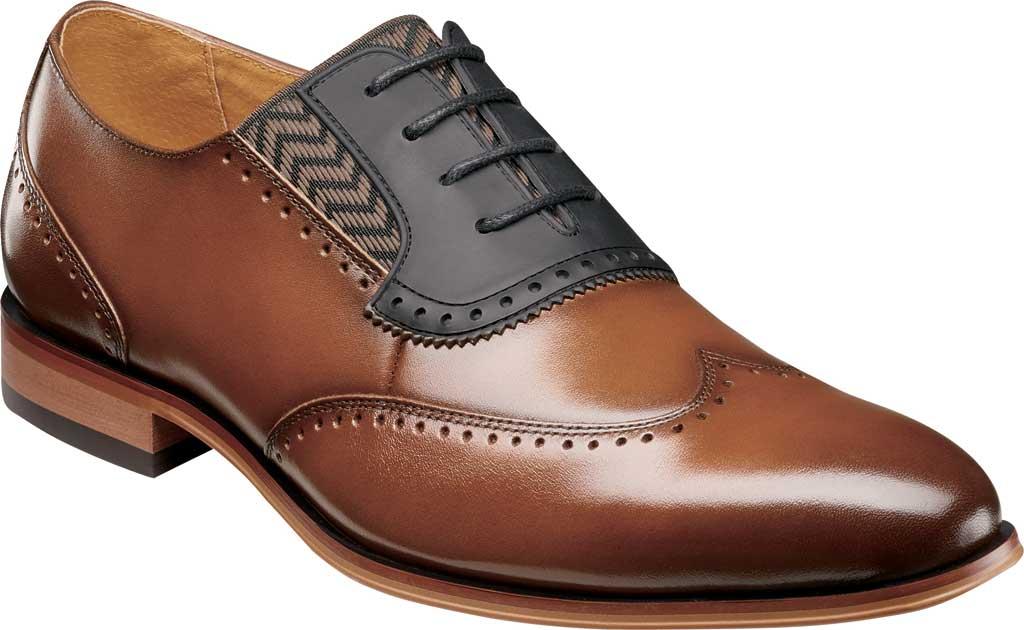 Men's Stacy Adams Sullivan Wingtip Oxford, Cognac Smooth Leather, large, image 1