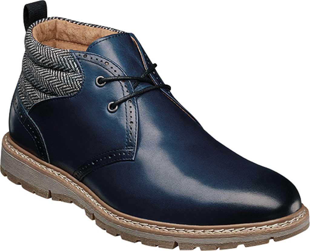 Men's Stacy Adams Grantley Plain Toe Chukka Boot, Indigo Leather/Herringbone Textile, large, image 1