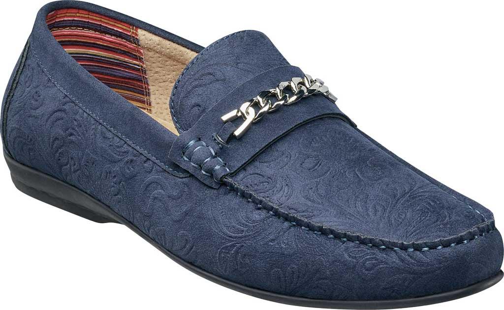 Men's Stacy Adams Clem Moc Toe Bit Loafer, Navy Floral Embossed Leather, large, image 1