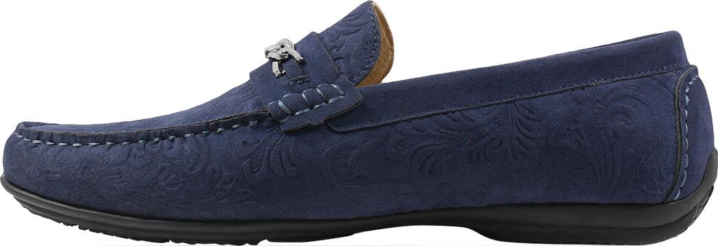 Men's Stacy Adams Clem Moc Toe Bit Loafer, Navy Floral Embossed Leather, large, image 3