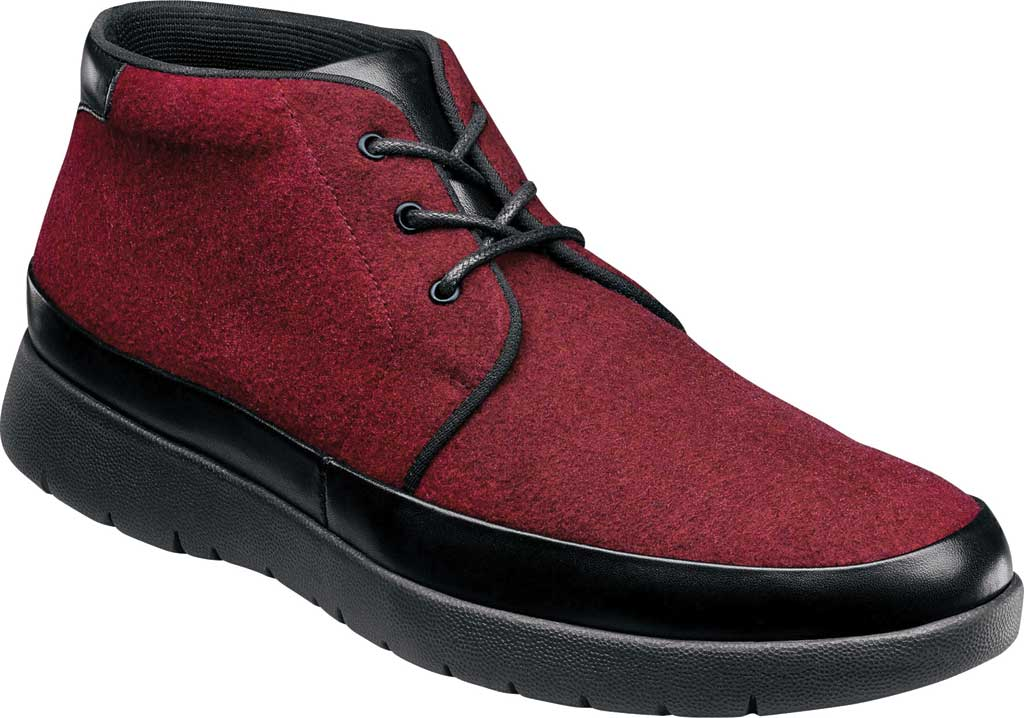 Men's Stacy Adams Hartley Chukka Boot, Burgundy Wool Felt, large, image 1