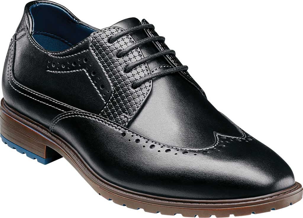 Boys' Stacy Adams Rooney Wingtip Oxford, Black Synthetic, large, image 1