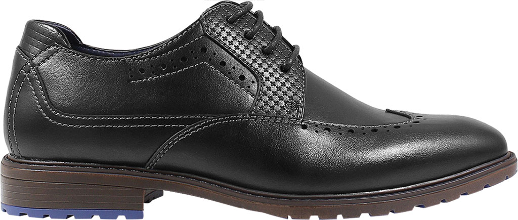 Boys' Stacy Adams Rooney Wingtip Oxford, Black Synthetic, large, image 2