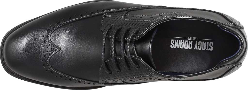 Boys' Stacy Adams Rooney Wingtip Oxford, Black Synthetic, large, image 5