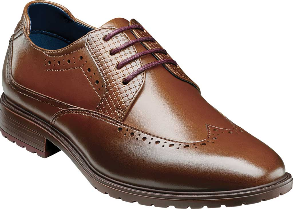 Boys' Stacy Adams Rooney Wingtip Oxford, Tan Synthetic, large, image 1