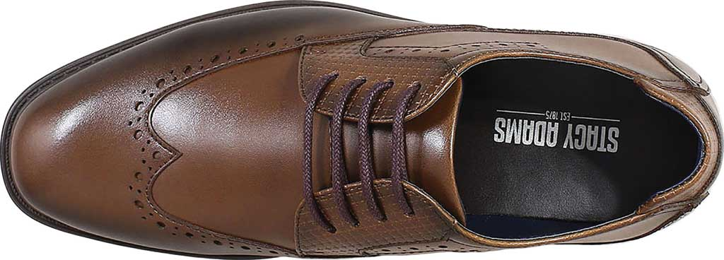 Boys' Stacy Adams Rooney Wingtip Oxford, Tan Synthetic, large, image 5